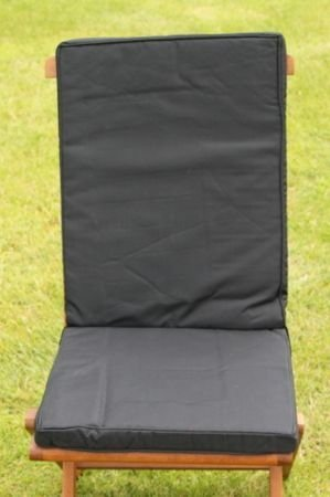 UK-Gardens Black Garden Furniture Seat And Back Full Folding Chair Cushion - Removable cover - Double Piped - Indoor or Outdoor Use