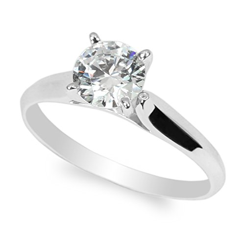 JamesJenny 10K White Gold 1.0ct Round CZ Classic Solid Engagement & Wedding Solitaire Ring Size 6 ()