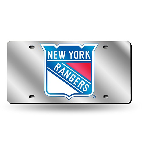 Rangers Laser - Rico Industries NHL New York Rangers Laser Inlaid Metal License Plate Tag, Silver