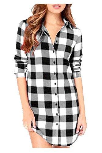 Plaid Black Check White Flannel (Kumer Women's Plaid Shirt Loose Long Sleeve Casual Long Button Down Shirt Top Blouse,White,Large)