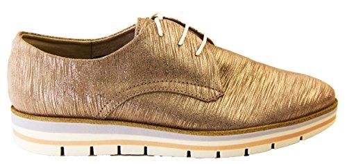 Mujer Marco Tozzi el cuero del faux ata para arriba los zapatos del brogue del verano Taupe metálico