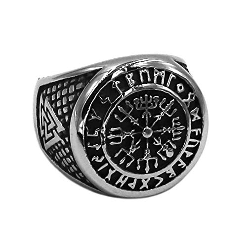 BAVAHA Wolf Arrow Ring Celtic Knot Stainless Steel Nordic Rune Odin Symbol Amulet Biker Men Ring (Style 1 - Prime, 11) (Arrow Ring Wrap)