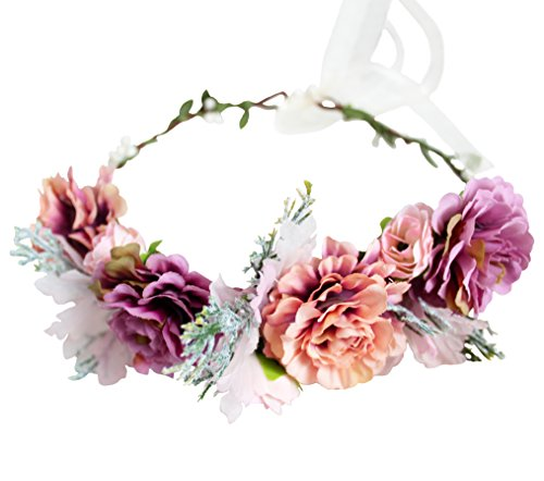 Vivivalue Handmade Boho Flower Wreath Headband Crown Halo Floral Hair Garland Headpiece with Ribbon Festival Wedding Pink
