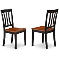 East West Furniture ANC-BLK-W Dining Chair Set with Wood Seat, Black/Cherry Finish, Set of 2