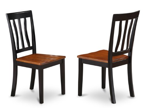 Medium Cherry Seat - East West Furniture ANC-BLK-W Dining Chair Set with Wood Seat, Black/Cherry Finish, Set of 2