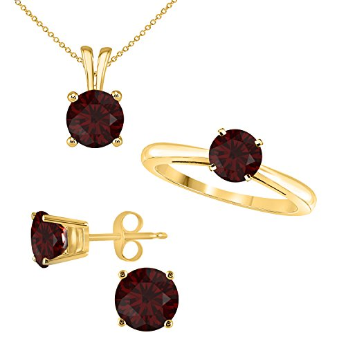 Jewelryhub Set Round Shape Brilliant Cut Lab Created Red Garnet Ring, Pendant and matching Earrings for Women Jewelry Set in 14K Yellow Gold Fn Alloy (Garnet Set Yellow Jewelry)