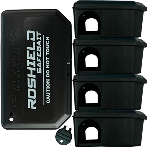 5 x Roshield Mouse Bait Boxes - Holds Mice Poison Safely away from Children...