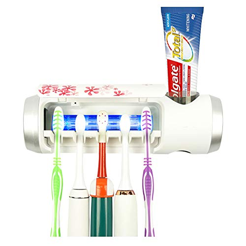 BOHON UV Toothbrush Holder with Sterilization Function Build-in Drying Fan Toothpaste Holder -