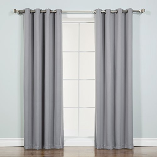 Best Home Fashion - Best Home Fashion Thermal Insulated Blackout Curtains - Antique Bronze Grommet Top - Grey - 52