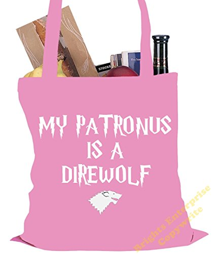 range the Size 23 from bag our Patronus Harry wording Shopping original x a reuseable My Bag Potter Tote 38 Direwolf litres unique is An 42 tote Gym st Beach Pink Christmas with cm 10 Birthday or YInfZ