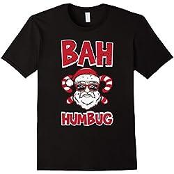 Mens Bah Humbug Santa Candy Cane Glasses Anti Xmas Hate T-Shirt 2XL Black