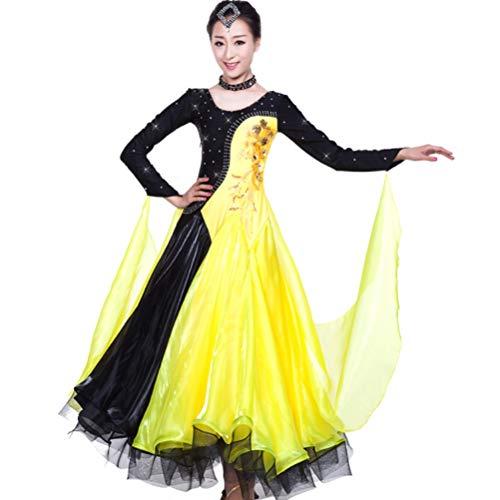 Da Ballo Vestito Valzer Danza Abiti Donne Di Costume Liscio Standard Competizione Spettacolo Yellow Flamenco Gonna Foxtrot qIp44wR5