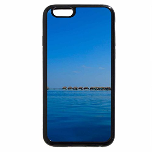 iPhone 6S Case, iPhone 6 Case (Black & White) - Sail Boat on Blue Lagoon