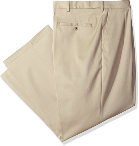 Haggar Men's Big and Tall Premium No Iron Heather Classic Fit Expandable Waist Pleat Front Pant, Sand, (Pleat Front Pant)