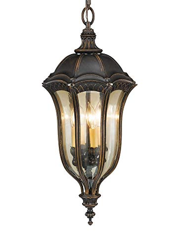 Murray Feiss Lighting OL6012WAL Baton RougeOutdoor Lantern - Hanging Duo-Mount, Walnut Finish with Gold Luster Tinted Glass