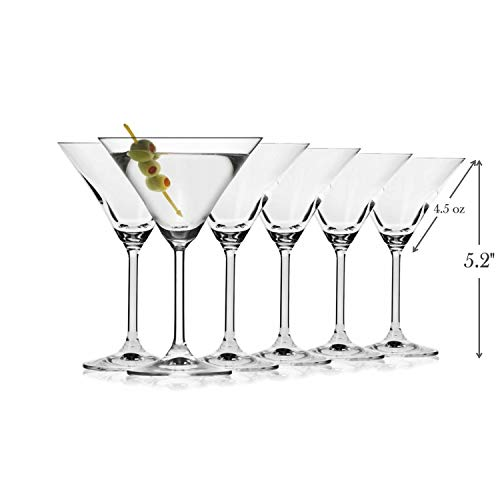 Classic Martini Glasses -Set of 6 (4.5 Ounce) - Perfect Cocktail/Desserts Glasses with Stem ()