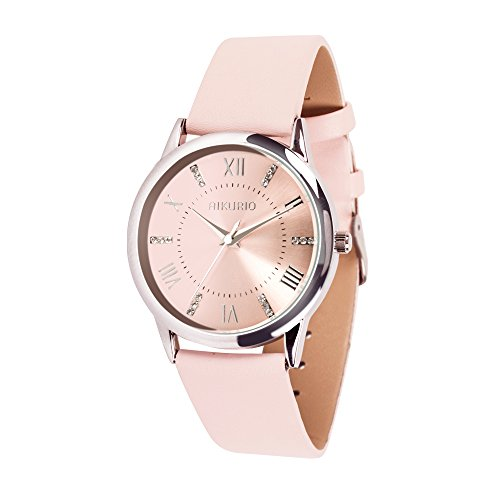 AIKURIO Women Ladies Wrist Watch Waterproof Quartz Watch with Crystal Dial Clock Leather for Female Luxury Fashion Business Classic (Casual Ladies Watch)