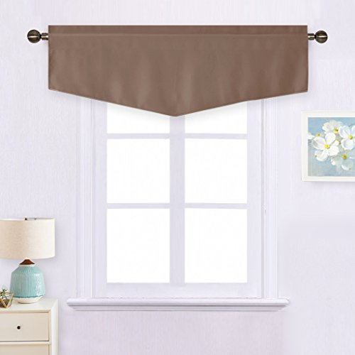 NICETOWN Thermal Insulated Window Valance - 52-inch by 18-inch Ascot Rod Pocket Tier Window Panel Curtain (Cappuccino, 1 ()