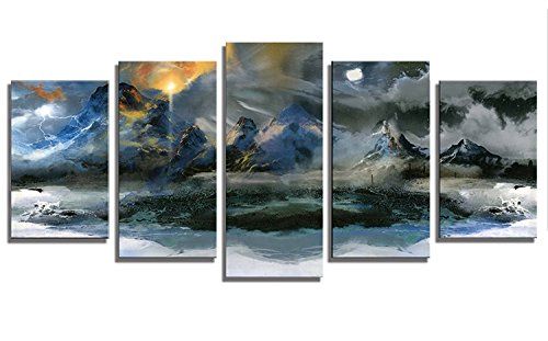 LKY ART Modern Large Blue Wall Art Flash With Sunset And Moon Light