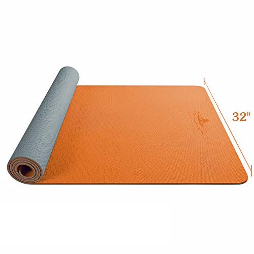 Hatha yoga Large TPE Yoga Mat – 72″x 32″ x 1/4 inch -Eco Friendly SGS Certified -Non Slip Bolster with Carrying Bag for Home Gym, Pilates & Floor Outdoor Exercises