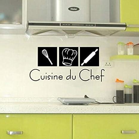 Etiquetas engomadas de la pared de la cocina francesa - Cuisine du Chef calcomanías de pared de vinilo para la cocina moderna casera francesa Murale Decor 80 * 36CM: Amazon.es: Bebé