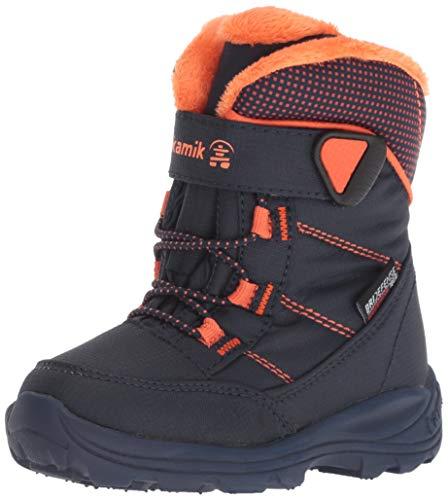 (Kamik Boys' Stance Snow Boot, Navy/Flame, 10 Medium US Toddler)