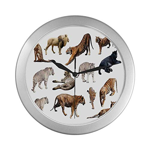 C COABALLA Safari Decor Simple Silver Color Wall Clock,Collection of Tigersand Other Big Wild Cats Predatory Feline Zoo Lying Standing Background for Home Office,9.65