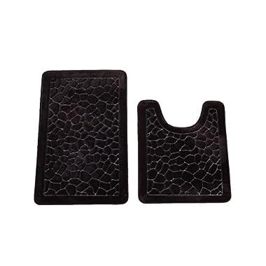 Bednlinens 2 Piece Set Black Non-slip Memory Foam Bath Mat