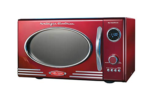 Nostalgia RMO4RR 0.9 Cubic Foot 800-Watt Countertop Microwave Oven - Retro Red, Metallic