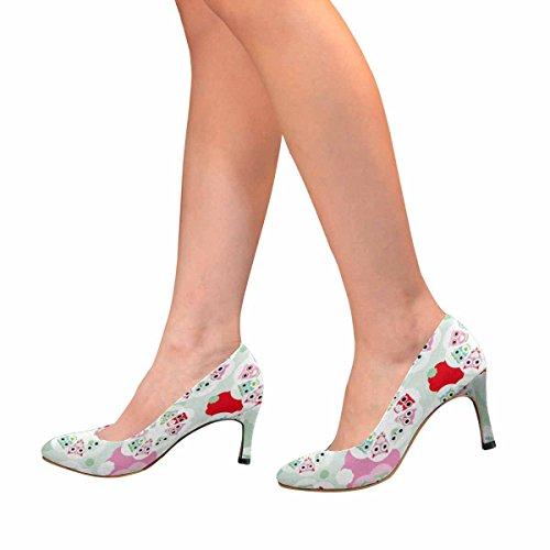 InterestPrint Womens Classic Fashion High Heel Dress Pump Pastel Flower Owl NqucI