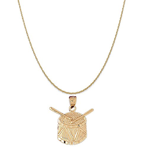 14k Yellow Gold Snare Drum Pendant on a 14K Yellow Gold Rope Chain Necklace, -