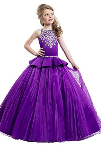 Sunday Girls Beaded Crystal Ball Gowns Full Length Organza Pageant Dresses 8 US Dark (Full Length Beaded Gown)