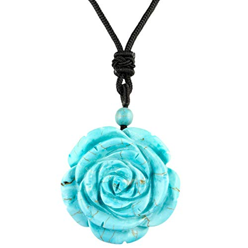 Rope Turquoise Necklace - rockcloud Hand Carved Howlite Turquoise Rose Flower Crystal Stone Pendant Necklace for Women