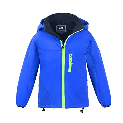 - M2C Boys Hooded Winter Windbreaker Softshell Jacket Fleece Lined Jackets, Blue, 5T