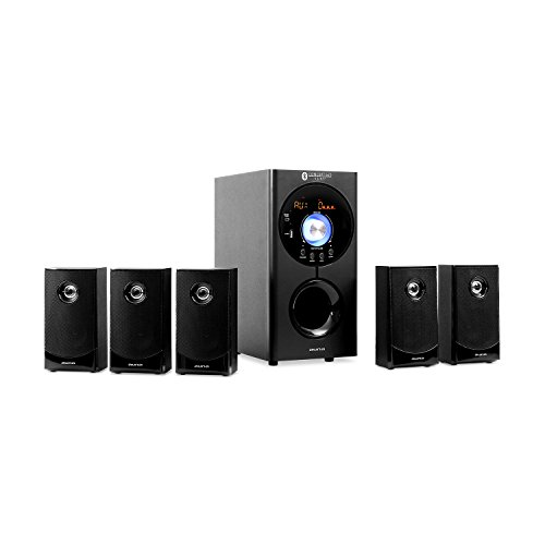 auna Concept 620 5.1 Channel Home Theater Speaker System • Surround Sound • Bluetooth • Subwoofer • 5 Satellite Speakers • USB-Port • AUX • Remote Control • Up to 200 Watt • Black