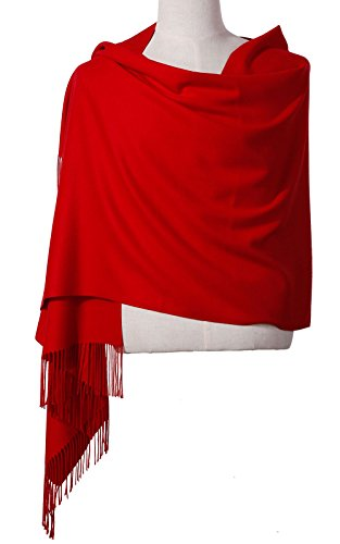 """Womens Pashmina Shawl Wrap Scarf - Ohayomi Solid Color Cashmere Stole Extra Large 78""""x28"""" (Red)"""
