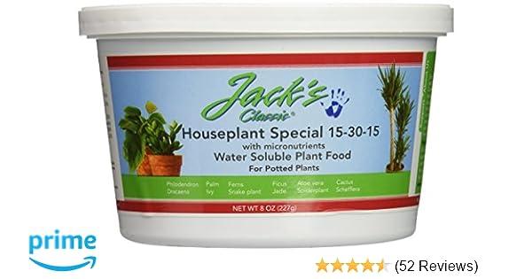 JR Peters Inc Jacks 51508 Classic 15-30-15 Houseplant Special Fertilizer,  8-Ounce