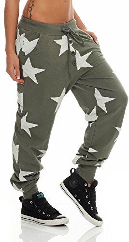 malito estrella Boyfriend Pantalón Sweatpants Fitness Harem Aladin Bombacho Sudadera Baggy Yoga 8025 Mujer Talla Única Olive