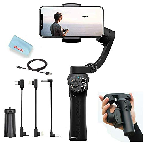 Snoppa Atom 3-Axis Foldable Handheld Gimbal Stabilizer for Smartphone iPhone Xs Max Xr X 8 Plus Samsung S9+ S9 S8 Action Camera GoPro Hero 7/6,Pocket-Sized,Wireless Charge,24H Run-time,310g Payload