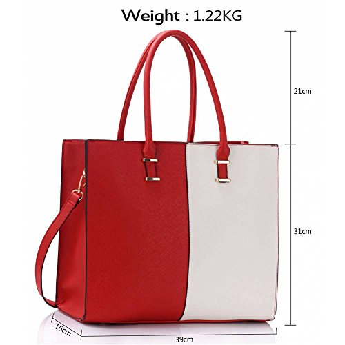 TrendStar - Bolso de asas de piel sintética para mujer rojo B - Red Red/White Tote Bag