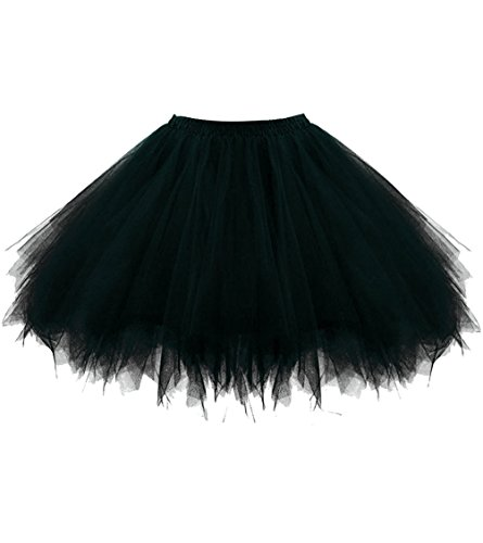 Dresstore Women's Short Vintage Petticoat Skirt Ballet Bubble Tutu Multi-colored Black L/XL]()