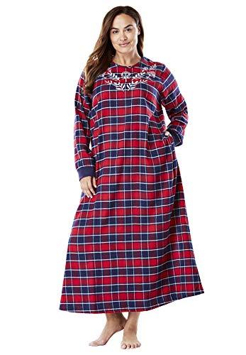 Dreams & Co. Women's Plus Size Cotton Flannel Lounger - Navy Plaid, 18/20