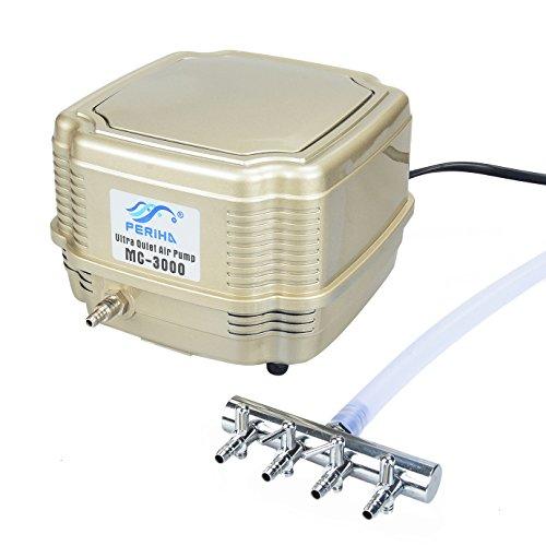 Pawfly Commercial Air Pump MC-3000 Quiet Oxygen Pump for Aquarium Pond, 4 Outlets, 8 W, 16 (Farm Pond)
