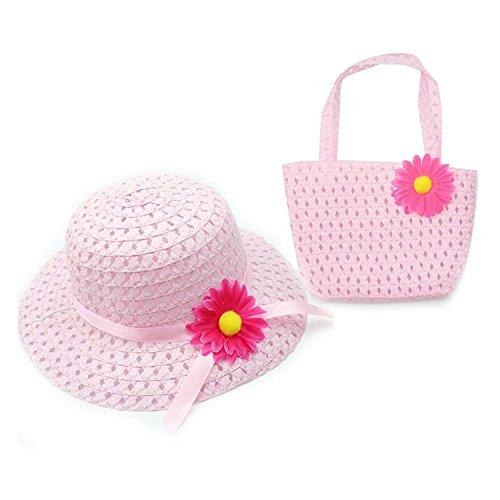 SODIAL Nice Charm Princess Girl Straw Hat and Flower decoration Handbag (Pink)