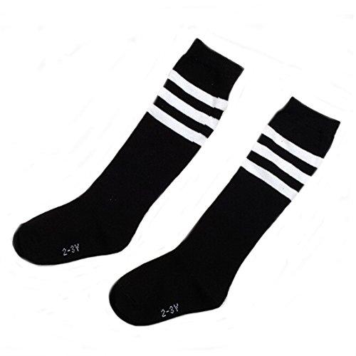 Flyusa 1 Pair Toddlers Children Kids Girls Boys Cotton Bootie Knee High Long Soccer Socks Team Socks for Kids 4-5 Years Old(Black) (Shorts Pink Soccer)