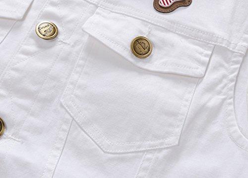 BININBOX® Herren Jungen Jeansweste Weste Jeans Jacke Jeansjacke Denim Slim Fit Weiß Beige Frühling Sommer