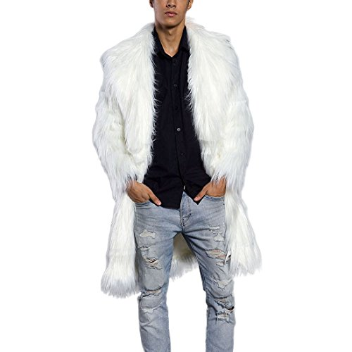 JTENGYAO Men's Faux Fur Coat Long Overcoat Outerwear Winter Jacket