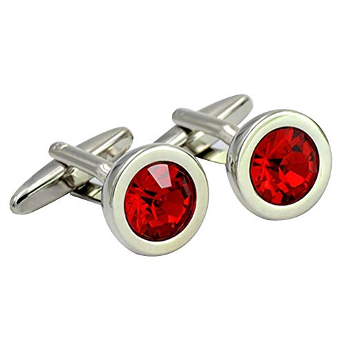 high end exquisite simple diamond cut surface red crystal cufflinks for men business daily use