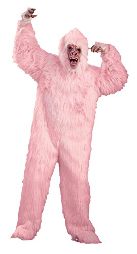 [UHC Unisex Gorilla Jumpsuit Furry Animal Jungle Party Adult Halloween Costume, STD (up to 42)] (Pink Gorilla Suit)