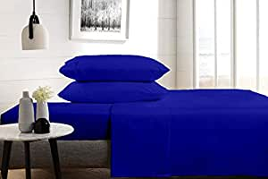 Kotton Culture 600 Thread Count 4 Piece Sheet Set Long Staple Cotton With 15 Inch Deep Solid Luxurious Hypoallergic (1 Fitted Sheet 1 Flat Sheet 2 Pillow Cases) (Emperor, Royal Blue)